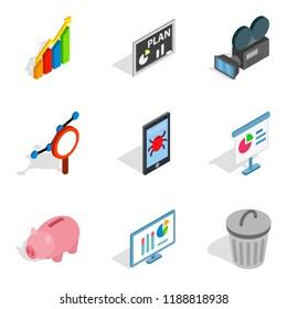 Darknet icons set. Isometric set of 9 darknet icons for web isolated on white background