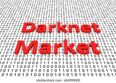 Darknet Market in the form of binary code, 3D illustration