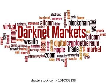 Darknet markets word cloud concept on white background.