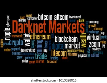 Darknet markets word cloud concept on black background.