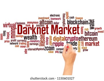 Darknet markets word cloud and hand writing concept on white background.