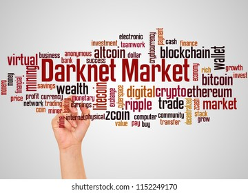 Darknet markets word cloud and hand with marker concept on gradient background.