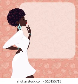 Dark-skinned woman on a pink background (jpg); eps10 version also available