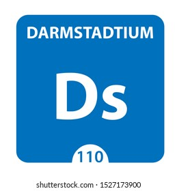 Darmstadtium Chemical 110 element of periodic table. Molecule And Communication Background. Darmstadtium Chemical Ds, laboratory and science background. Essential chemical minerals and micro elements