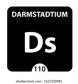 Darmstadtium symbol. Sign Darmstadtium with atomic number and atomic weight. Ds Chemical element of the periodic table on a glossy white background. Experiments in the laboratory. science ant