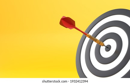Dart hitting a target on the center on yellow background with copy space. Minimal concept. 3d render illustration