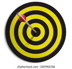 Dartboard and arrow on white background 3D illustration