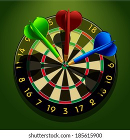 Dartboard with darts in the center concept business acumen success  illustration
