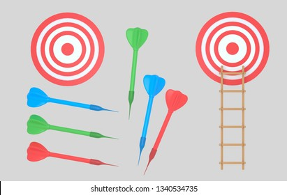 Dartboard and darts. Ladder. Isolated. 3d illustration