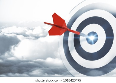 Dartboard on sky background. Targeting, aiming and success concept. 3D Rendering