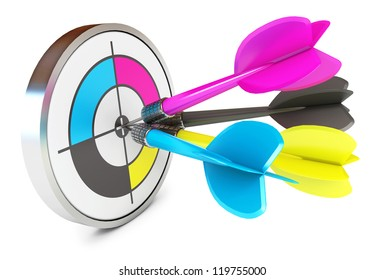 Darts hitting directly in bulls eye. CMYK. Conceptual illustration. Isolated on white background. 3d render