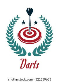 Darts sporting emblem with dartboard, laurel wreath and darts in heraldic style for sports or leisure design