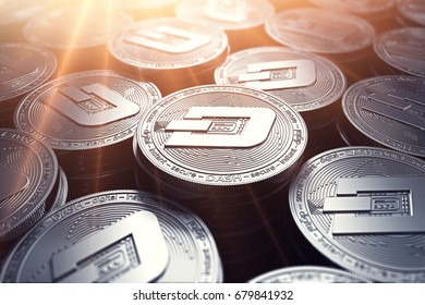 Dash coins in blurry closeup with sunburst from above. Dash coin growth concept. 3D rendering.