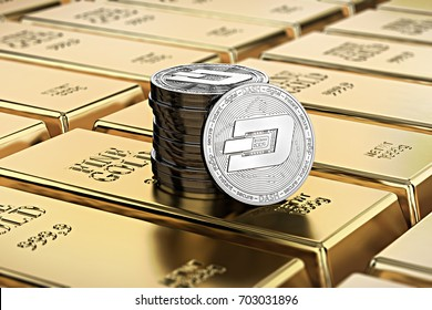 Dash coins laying on stacked gold bars (gold ingots) rendered with shallow depth of field. Concept of highly desirable cryptocurrency. 3D rendering