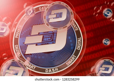 DASH crash; DASH coins in a bubbles on the binary code background. Close-up. 3d illustration