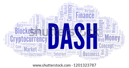 Dash Cryptocurrency Coin Word Cloud Stock Illustration 1201323787