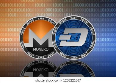 Dash (DASH) and Monero (XMR) coins on the binary code background; dash vs monero