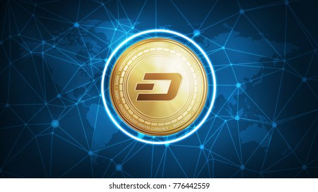 Dash symbol on futuristic hud polygon background with world map and blockchain peer to peer network. Global cryptocurrency and ICO initial coin offering business banner concept.