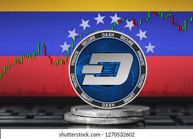 DASH Venezuela; dash coin on the background of the flag of Venezuela