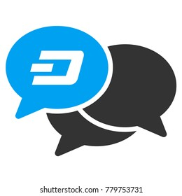 Dash Webinar raster pictograph. Illustration style is a flat iconic bicolor blue and gray symbol on white background.