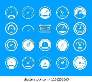 Dashboard icon set. Simple set of dashboard icons for web design isolated on blue background