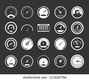 Dashboard icon set white isolated on grey background