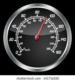 Dashboard of a sport car over black background