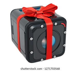 Dashcam DVR with bow and ribbon, 3D rendering. Gift concept isolated on white background