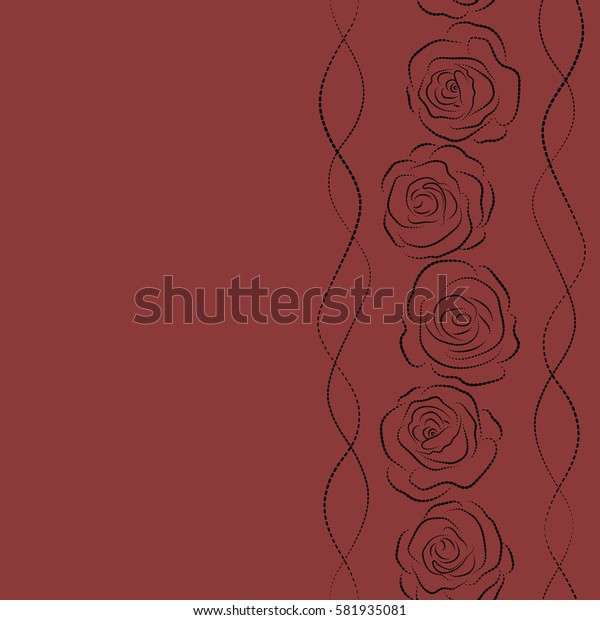 Dashed painting with Rose flowers in black and red colors and copy space (place for your text). Dashed English roses silhouette vertical seamless pattern.