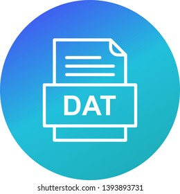 DAT File Document Icon In Trendy Style Isolated Background