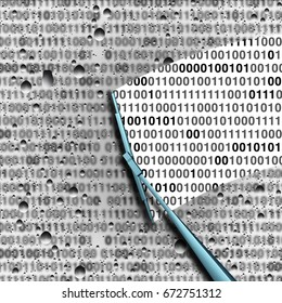 Data analysis or computer hacking concept as blurry binary code with a wiper identifying private information as a security technology symbol with 3D illustration elements.