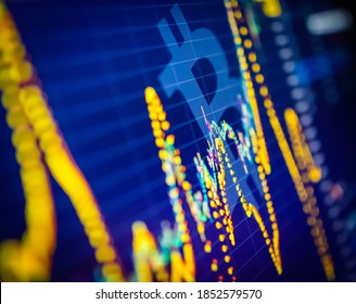 Data analyzing in exchange cryptocurrency market: the candles charts , bars and other trade analysis indicators on display. Analytics price change cryptocurrency BTC to USD - Bitcoin / US Dollar.