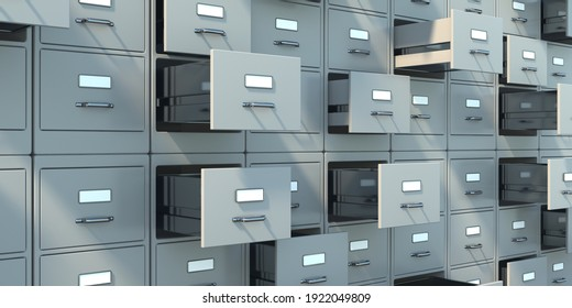 Data archive storage. Gray filing cabinets with open drawers background. Office document data, bureaucracy and business administration concept. 3d illustration