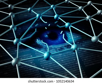 Data breach crisis and private personal information break as an internet digital technology security concept for computing theft risk with 3D illustration elements.