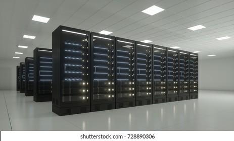Data center with black server racks 3d rendering