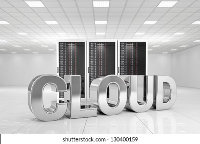 Data Center with chrome cloud text in front of the servers