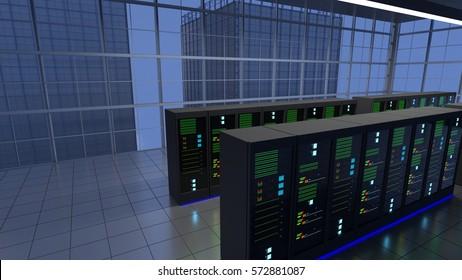 Data Center, Co-location, Server Room on floor of a large sky scraper building. 3D Render