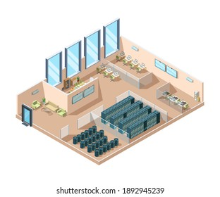 Data center. Computers server rooms interior cooling generators battery containers industrial data center building isometric