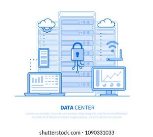 Data center concept. Flat line style illustration  isolated on white background.