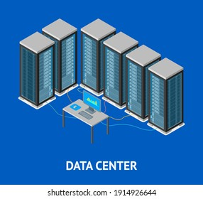Data Center Poster Card Isometric View Server Computer Room Workplace Elements Isolated on a Background. illustration of Database