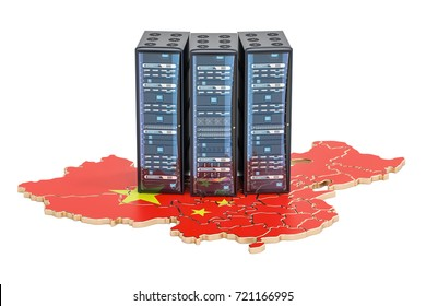 Data Center servers rack in China concept,  3D rendering