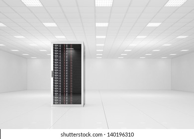 Data center with a single rack and copy space