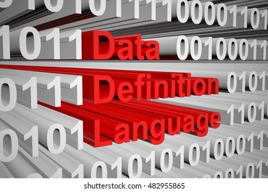 Data Definition Language in the form of binary code, 3D illustration