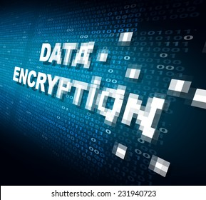 Data encryption concept as the word for internet security being pixelated and encrypted to become protected private information stored on the cloud or secure server.