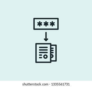 Data encryption icon line isolated on clean background. Data encryption icon concept drawing icon line in modern style.  illustration for your web mobile logo app UI design.
