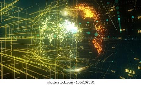 Data encryption for safe secure global cloud computing information technology mobile network - conceptual 3D render