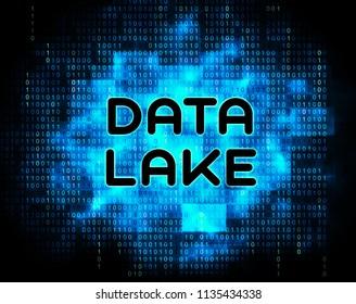 Data Lake Digital Datacenter Cloud 2d Illustration Shows Mainframe Supercomputer Storage Of Bigdata Complex Information