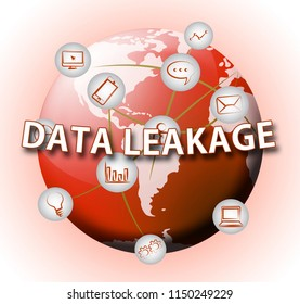 Data Leakage Information Flow Loss 2d Illustration Shows Leaky Breach Of Server Information For Protection Of Resources
