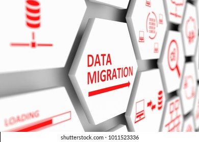 DATA MIGRATION concept cell blurred background 3d illustration