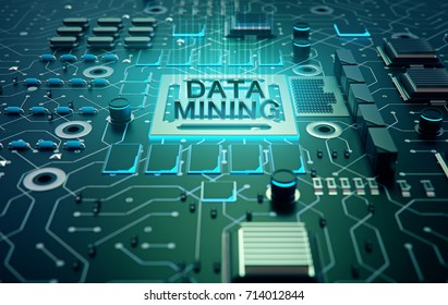 Data mining (data-minig) concept. Abstract symbol of a chip with text data mining connected with data represented by points.3d rendering.